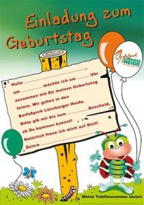 kindergeburtstag, kindergeburstag feiern, barfußpark egestorf, Einladung